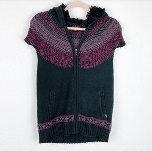 Vans Black Wool Short Sleeve Zip Up Jacket XL